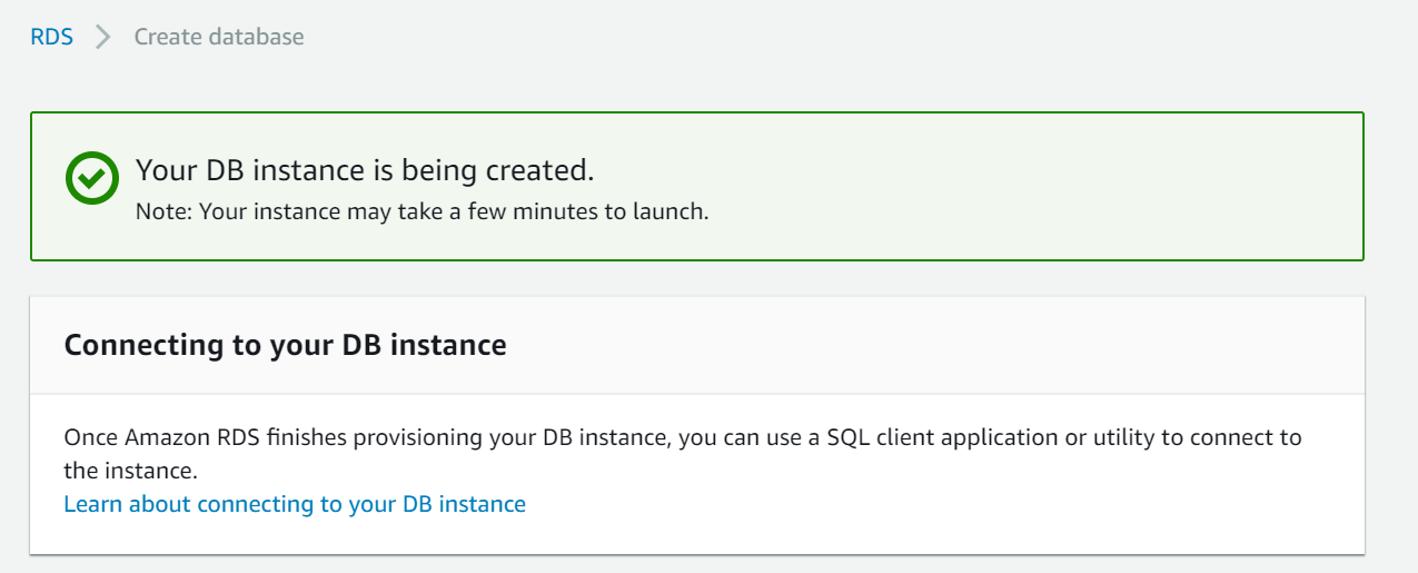 Creation of DB Instance.