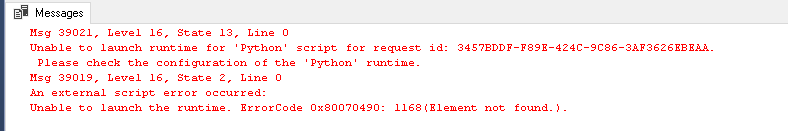 Error while using Python SQL script in SQL Server