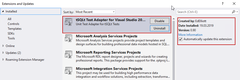SQL Unit testing - Extensions and Updates list in Visual Studio