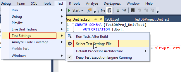 SQL developer unit testing - How to select test file in Visual Studio.