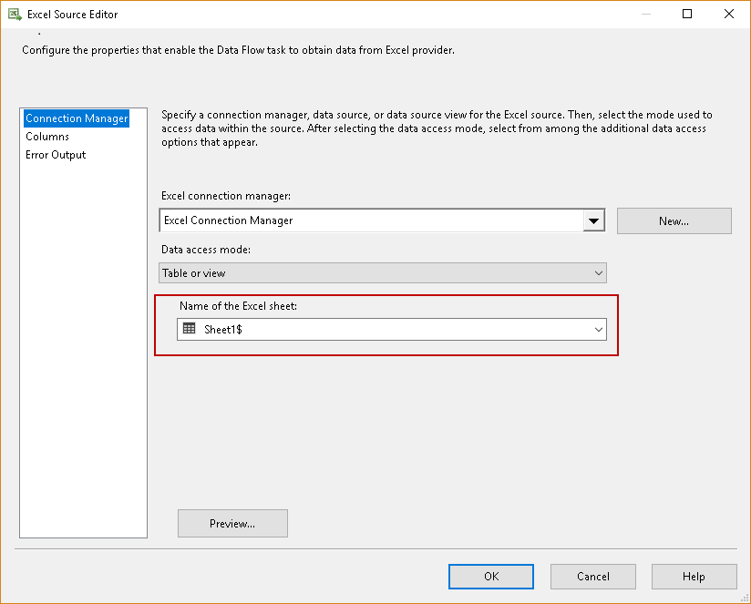 Importing compressed data into SQL Server: Configure the excel source in SSIS package