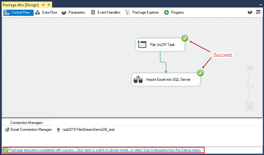 Importing compressed data into SQL Server: View the status of SSIS package tasks