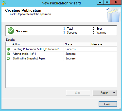 New Publication Wizard - Creating Publication