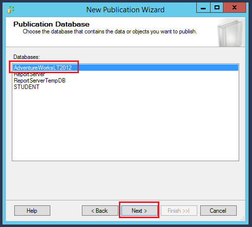 New publication wizard - databases