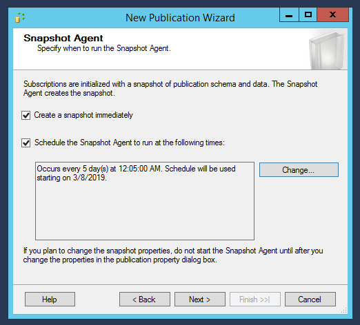 New publication wizard - Snapshot agent