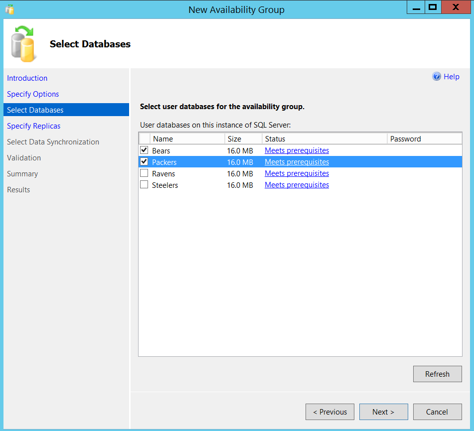 New SQL Server Always On availability group - select databases