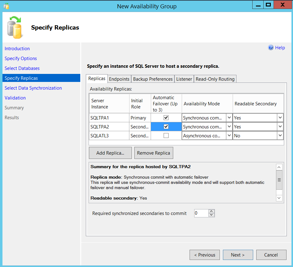 New SQL Server Always On availability group - specify replicas