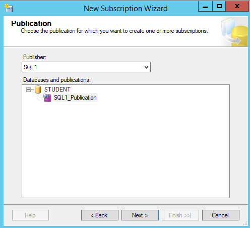 New Subscription Wizard - Publication