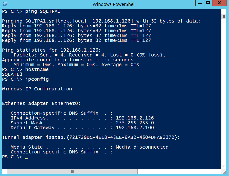 Ping test from SQLATL3 to SQLTPA1: