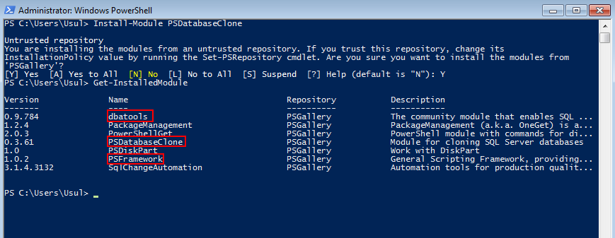 PowerShell required modules