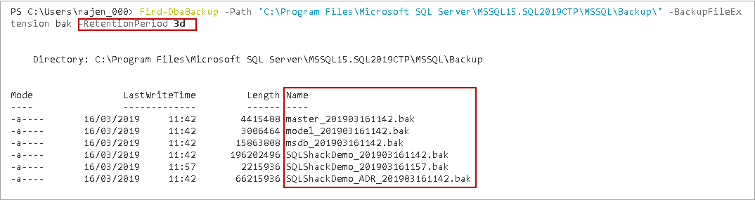 PowerShell SQL Server - Find-DbaBackup PowerShell Command configurations