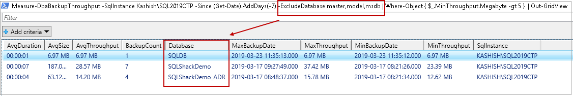 PowerShell SQL Server - Measure-DbaBackupThroughput command examples  in PowerShell