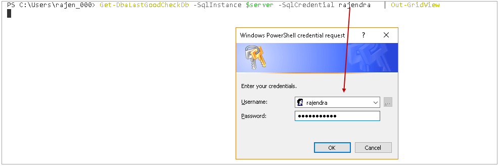 powershell sql server module DBAChecks: Connect using SQL authentication