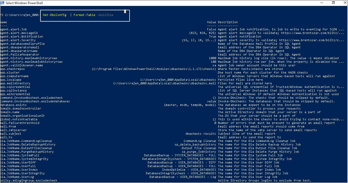 powershell sql server module DBAChecks: DbcConfig commands