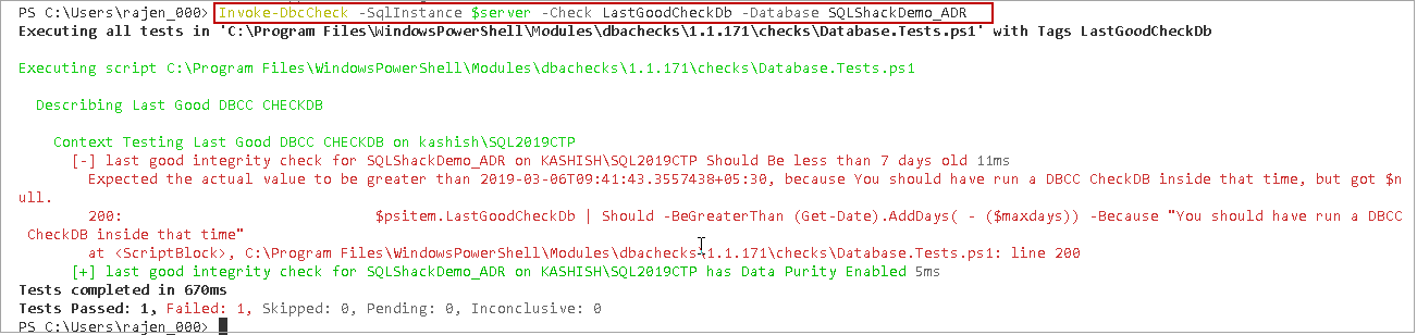 powershell sql server module DBAChecks: Filter result for a particular database