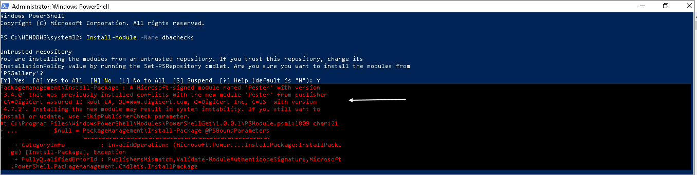 PowerShell SQL Server module DBAChecks installation