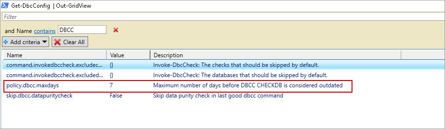 powershell sql server module DBAChecks: Modifying consistency check policy for DBAChecks