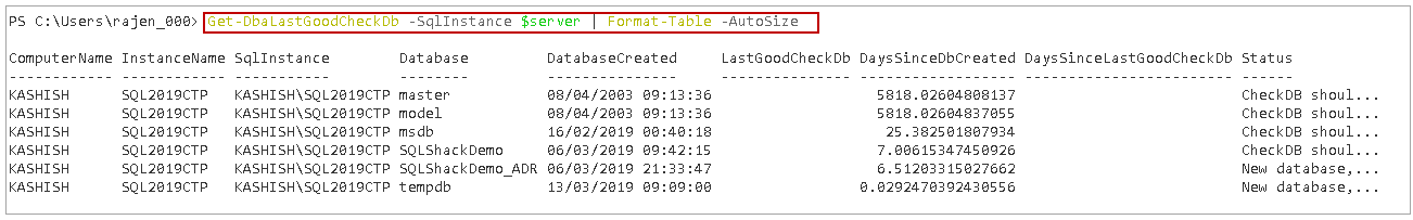 powershell sql server module DBAChecks: Output in a tabular format