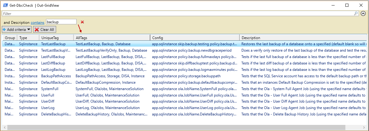 powershell sql server module DBAChecks: search in Grid view PowerShell