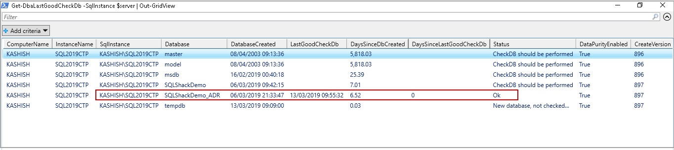 powershell sql server module DBAChecks: Validation check after performing DBCC CHECKDB on a database