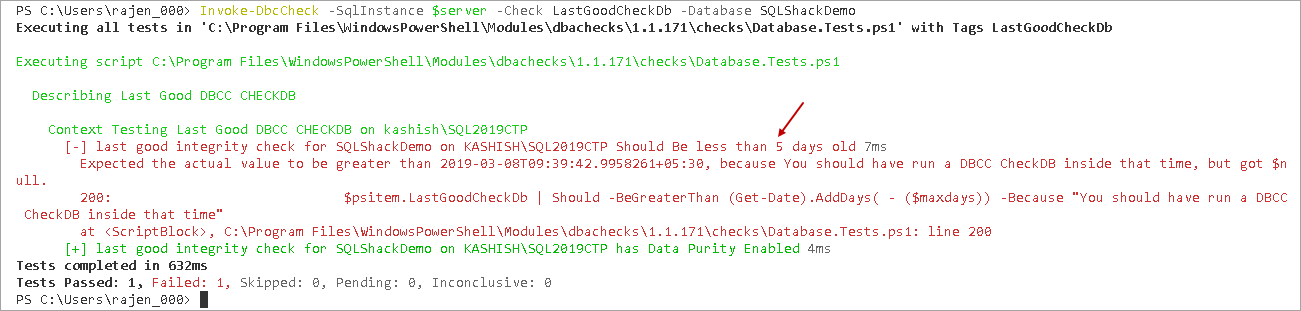 powershell sql server module DBAChecks: View conssitency check output