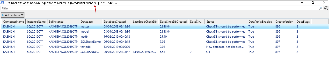 powershell sql server module DBAChecks: View result after connecting with SQL user