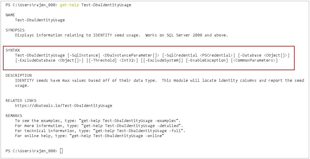 IDENTITY columns threshold using PowerShell SQL Server DBATools