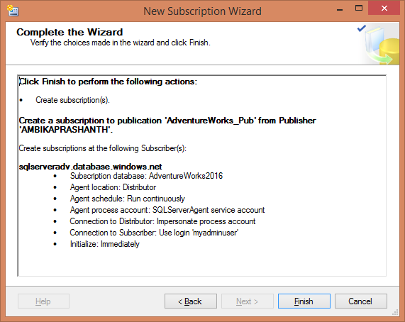 Replication - Complete Wizard - Summarize the Subscription details