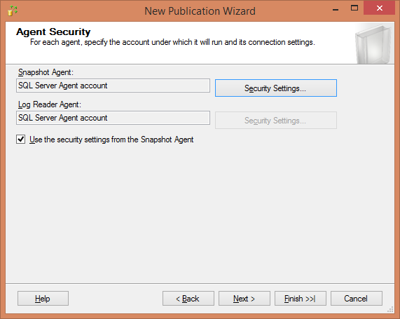Replication -Configure Security for Snapshot and Logreader Agent