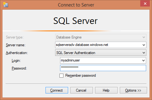 Replication - Connect to Azure SQL database