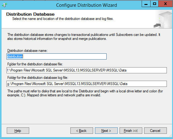 Replication - Distribution database file configuration