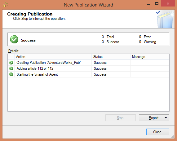 Replication - Final step of Publication wizard