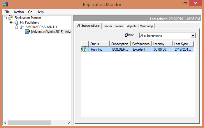 Replication Monitor to validate the agent statuses