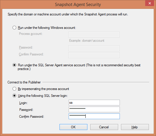 Replication - Select Snapshot Agent Security