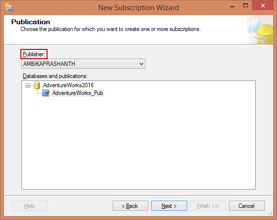 Replication - Subscription configuration - Select the Pub database