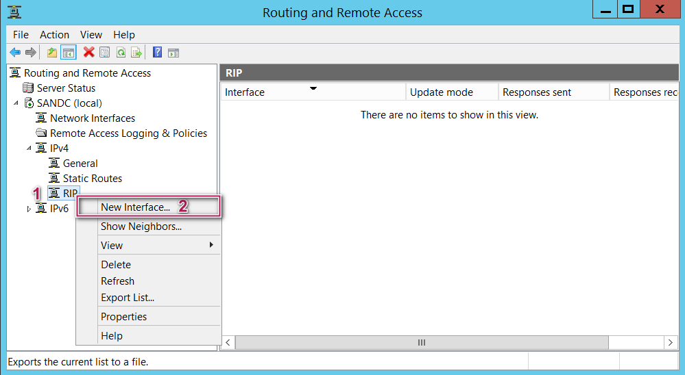 Routing and Remote Access - New interface