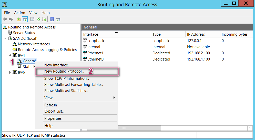 Routing and remote access - New routing protocal