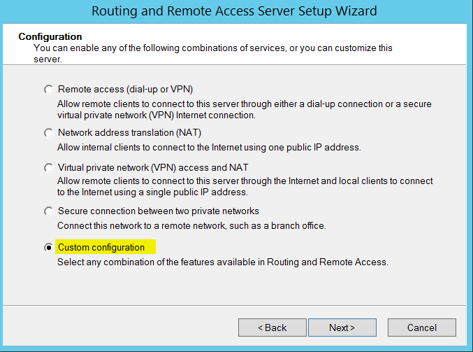 Routing and Remote Access Server Setup Wizard - custom configuration