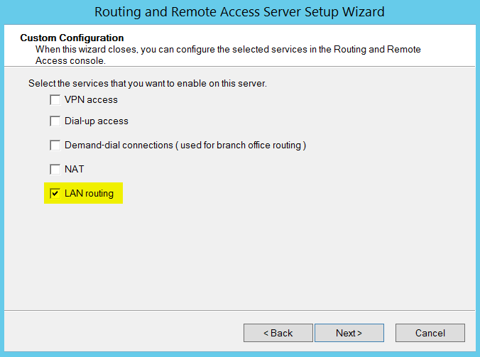 Routing and Remote Access Server Setup Wizard - LAN routing