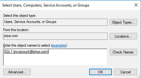Select user, Computers, Service Accounts or Groups