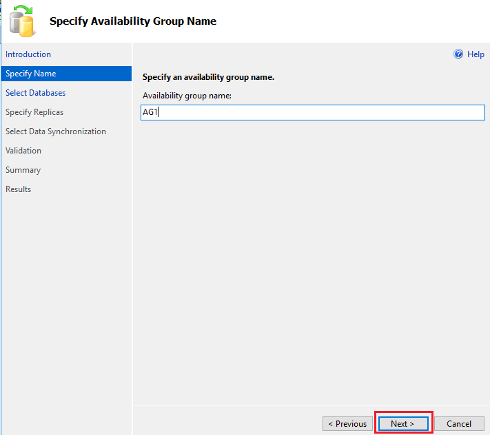 Specify Availability Group name