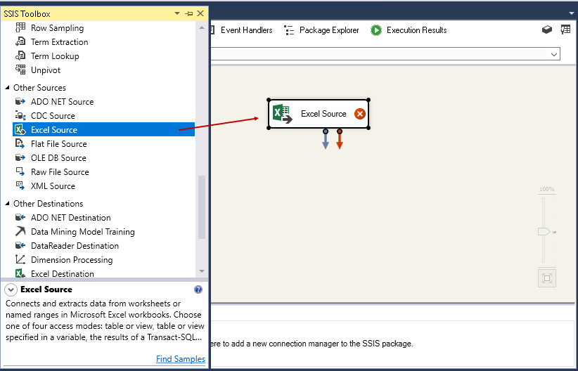 SQL import of compressed data: Configure the excel source in SSIS package