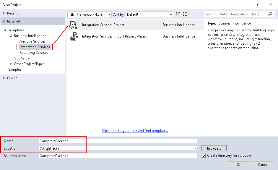 SQL import of compressed data: Create new Integration Service Project in Visual Studio 2017
