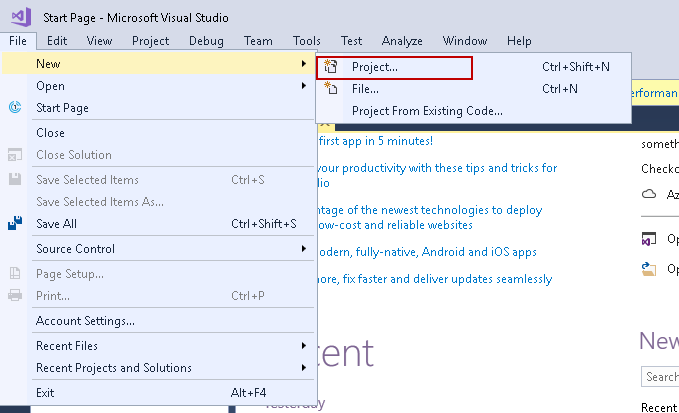 SQL import of compressed data: Create new project in Visual Studio 2017