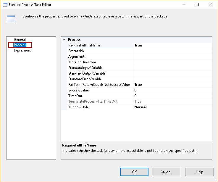 SQL import of compressed data: Execute Process Task Editor