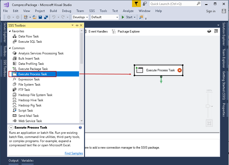 SQL import of compressed data: Execute Process Task in SSIS package