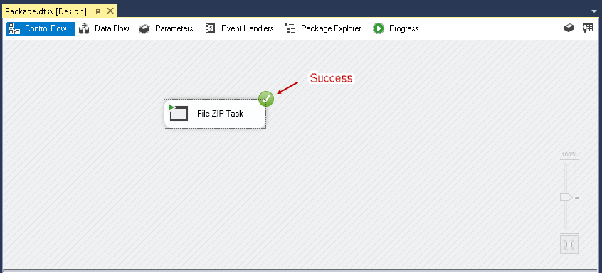 SQL import of compressed data: Success message of the File ZIP Task