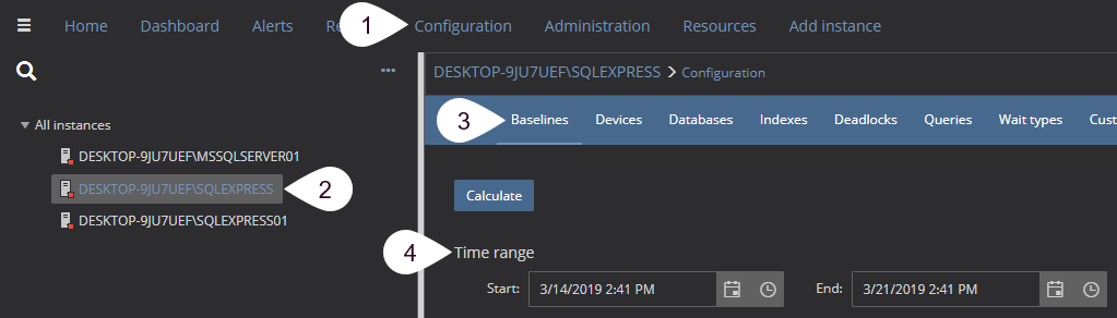 SQL Server monitoring tool with configuration options for calculating baselines