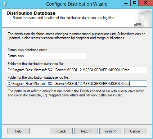 SQL Server replication - Configure distribution wizard - Distribution dtaabase