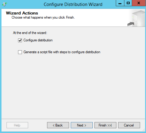 SQL Server replication - Configure distribution wizard - Wizard actions
